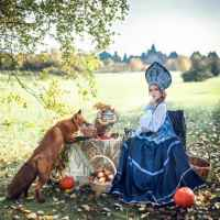Фотосессия с животными в стиле русской сказки