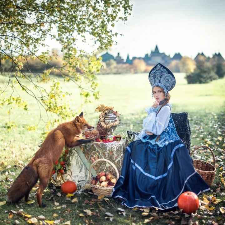 Подарочный сертификат на фотосессию с животными в стиле русской сказки